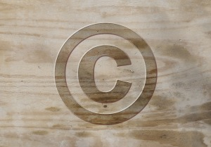 copyright icon wood